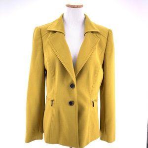 Tahari Chartreuse Career Blazer Jacket Sz 10
